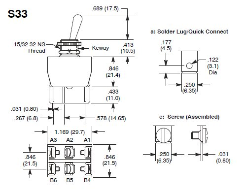 switch diagram S33 bat handle toggle switch, dpdt, on off on, nickel plated brass dpdt on-off-on switch diagram at gsmx.co