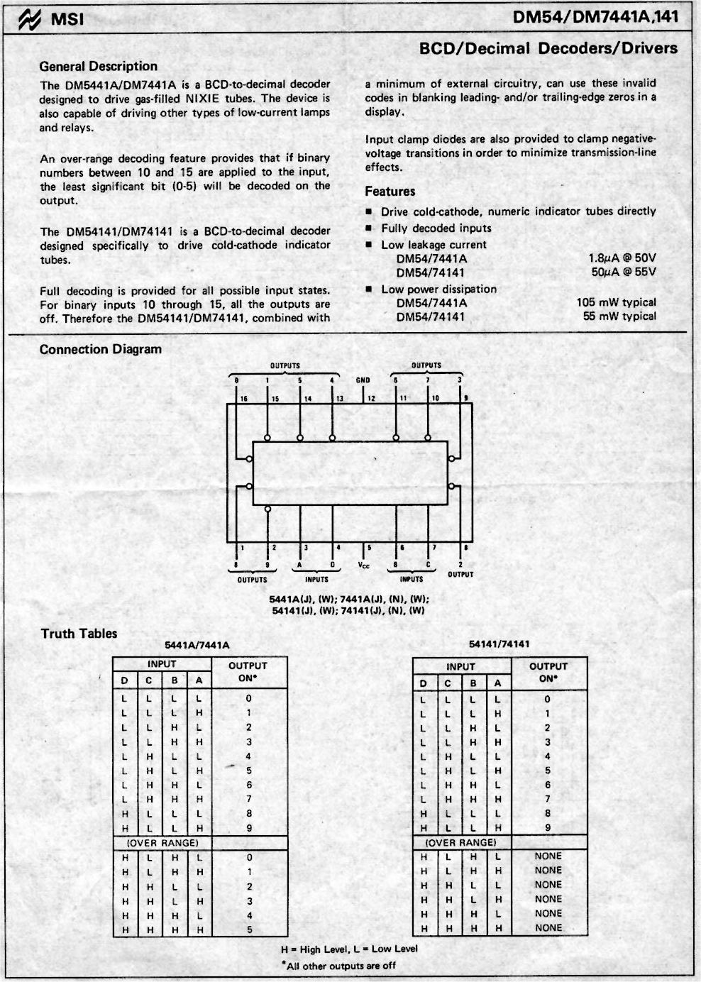 74141 Nixie Tube Driver Ic Russian All Spectrum Electronics Logic Diagram 7493 Datasheet Page 1